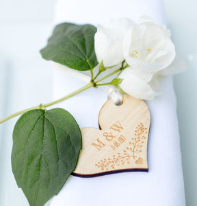 10pk Wooden Initial Floral Tags - wedding favours