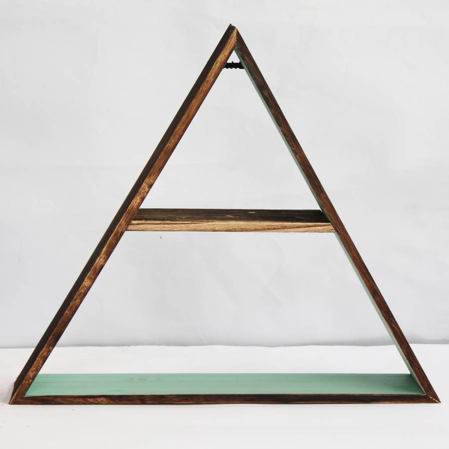 Wooden triangle shelf by posh totty designs interiors - Triangular bookshelf ...
