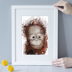 Expressive Orangutan Art Print - paintings