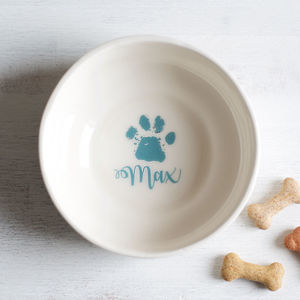 Personalised Paw Print Pet Bowl - food, feeding & treats