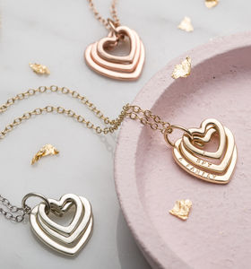 Personalised Family Names Heart Necklace - for new mums