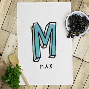 Personalised 'Initial' Tea Towel - kitchen accessories