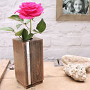 Wood VAse Personalised for Anniversary with Rose