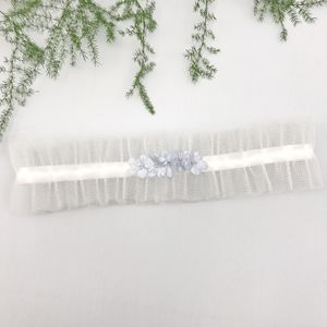 Tulle Wedding Garter With 'Something Blue' Flowers