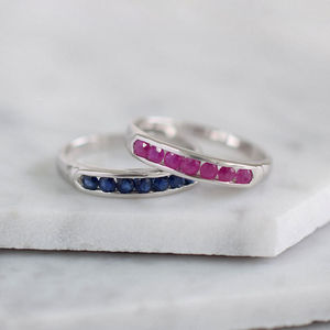 Sterling Silver Channel Set Gemstone Ring - rings