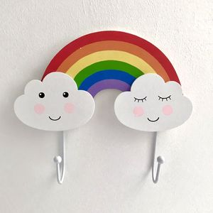 Rainbow And Clouds Double Hook - home accessories