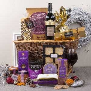 Christmas Cracker Basket Festive Hamper - cakes