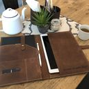 Personalised Leather iPad Pro Case With Pen Holder
