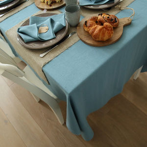Stone Blue Linen Tablecloth Lara - tablecloths