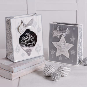 Set Of Two Christmas Silver Sparkle Gift Bags - cards & wrap