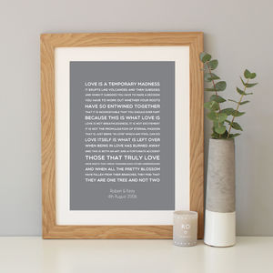 'Love Is A Temporary Madness' Quote Print