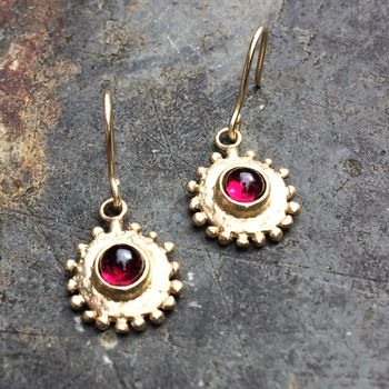 Sun Earrings Solid 9ct Yellow Eco Gold With Red Garnet