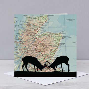 Stags Over Map Of Scotland