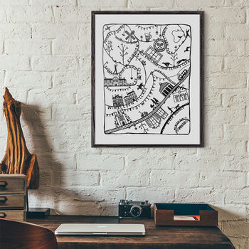 Wimbledon Illustrated Map Print