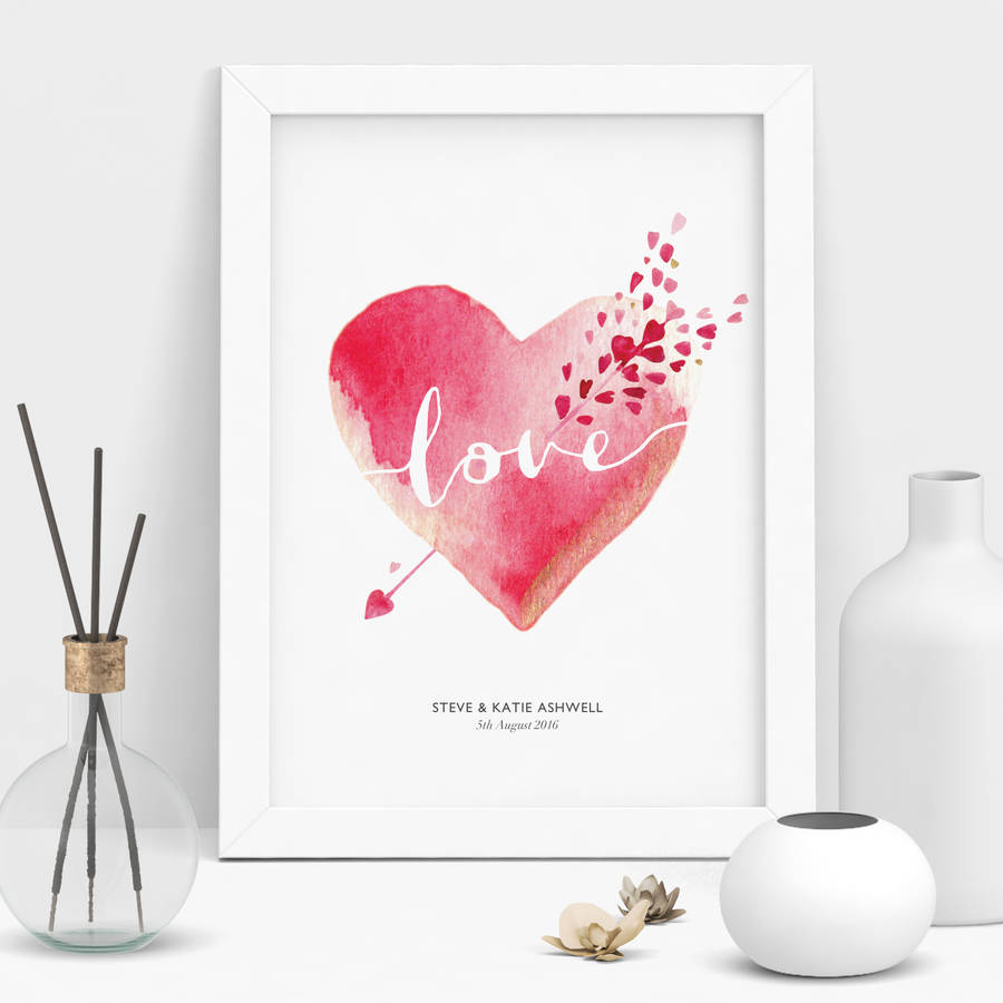 Personalised Wedding Gift Heart : personalised wedding gift watercolour love heart by the motivated type ...