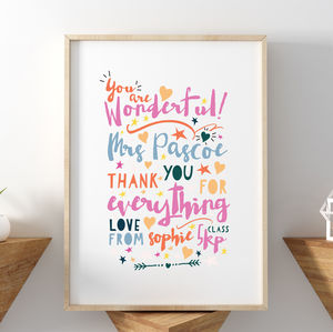 You Are Wonderful Thank You Teacher Print - pictures & prints for children