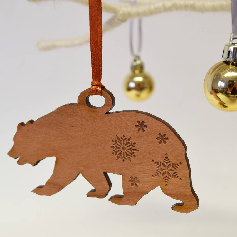 wooden polar bear christmas decoration