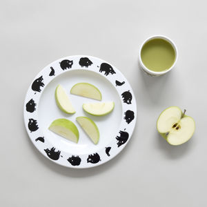 Farm Animal Plate Black - children's tableware