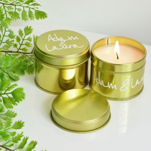 Gold Script Wedding Favour Candle