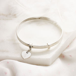 Personalised Love Heart Christening Bangle - more