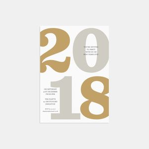 2018 Typography New Years Eve Invitation Set - adults party invitations