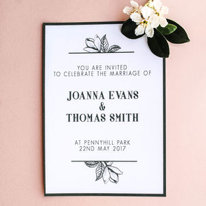 Green Magnolia Personalised Wedding Invitation