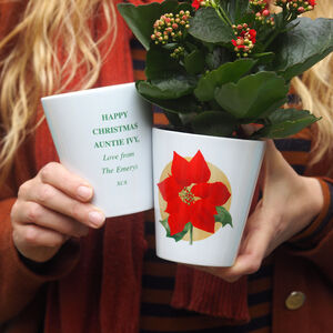 Poinsettia Personalised Plant Pot Vase Christmas Gift