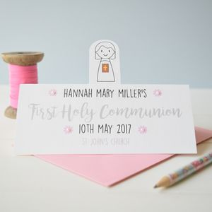Personalised Girl's Holy Communion Or Confirmation Card