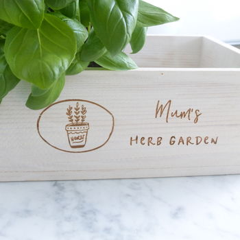 Personalised Wooden Herb Planter