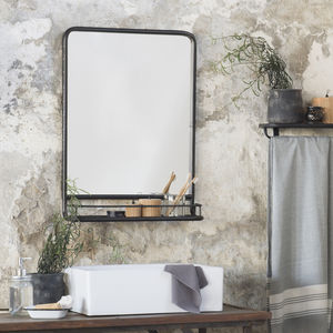 Large Black Industrial Mirror With Shelf - mirrors