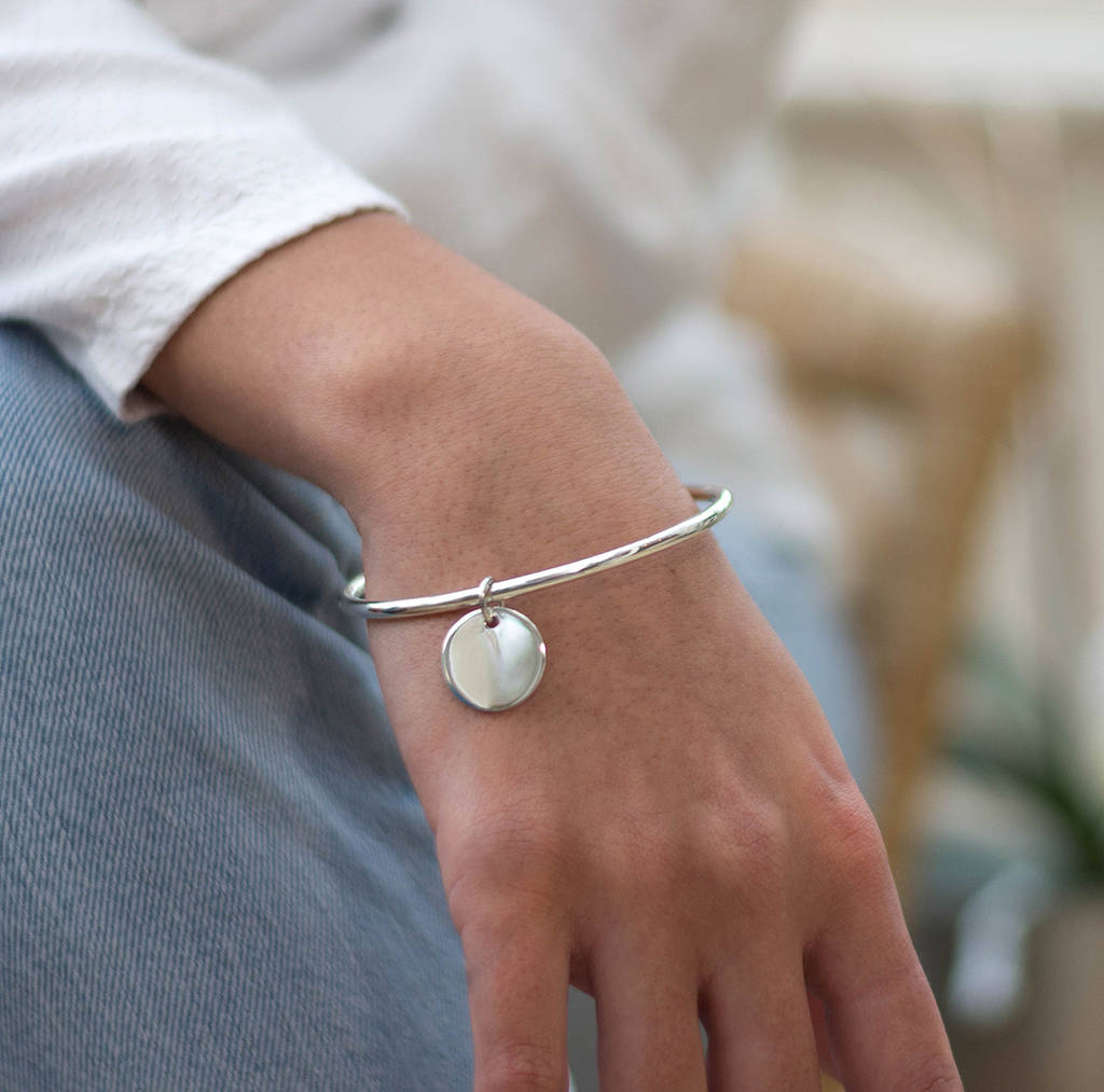 Personalised Charm Silver Bangle