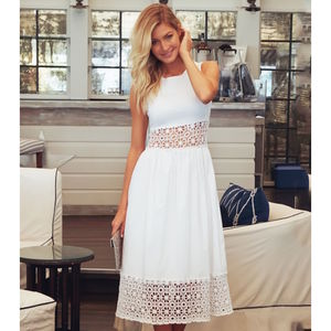 White Cheltenham Cotton Dress - women's fashion