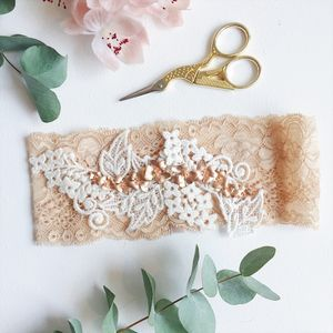 Double Rose Gold Orchid Wedding Garter - hothouse wedding trend