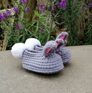 Crochet Bunny Booties And Matching Hat Set