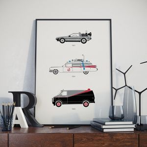 Iconic 80's Movie Car Collection Print - posters & prints