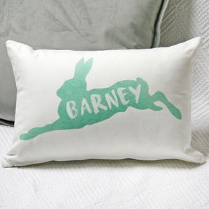 Personalised Watercolour Hare Cushion