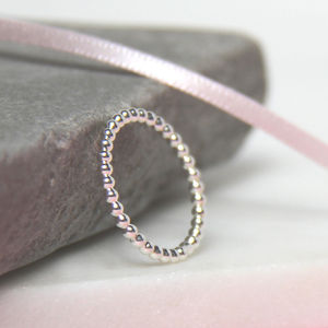 Silver Beaded Ring - rings
