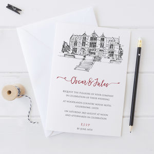 Wedding Invitation With Black And White Venue Drawing