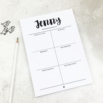 Personalised Monochrome Hashtag Shopping Notepad A5
