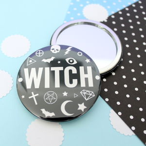 Witch Badge, Pocket Mirror Or Keyring - halloween spooky beauty