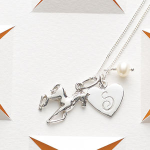 Initial And Horse Charm Necklace - winter sale