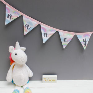 Personalised Baby Gift Clouds And Rainbows Bunting