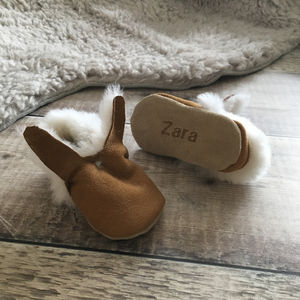 Personalised Bunny Sheepskin Baby Booties