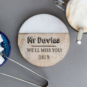 Personalised 'Teacher' Marble Coaster
