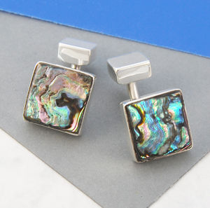 Men's Solid Abalone Shell Silver Cufflinks - 30th anniversary: pearl