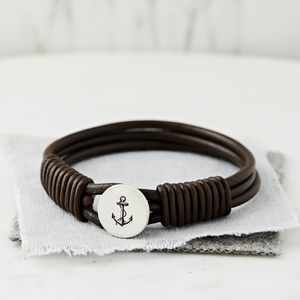 Personalised Silver And Leather Anchor Bracelet