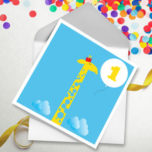 Giraffe Age Birthday Card - children's birthday cards