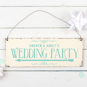 Personalised Wedding Party Direction Sign - outdoor decorations
