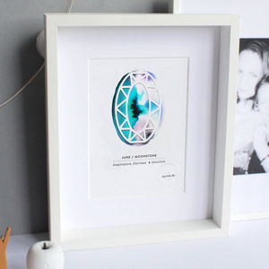 Personalised Paper Cut Birthstone Print - art & pictures