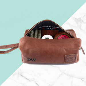 Leather Wash Bag Internal And External Personalisation